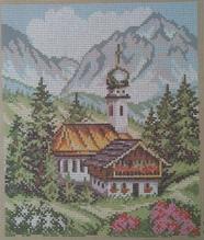 Gobelin - Stramin - vorgedruckt - 25x30cm - Berge mit Kirche