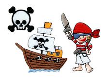 Applikationen - Patches - zum Aufbügeln - Set mit 3 Stück - Piraten