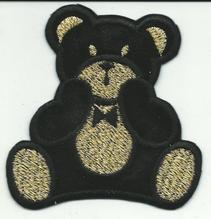 Applikationen - Patches - zum Annähen - Teddy schwarz/gold