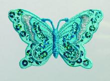 Applikationen - Patches - zum Aufbügeln - Schmetterling Pailletten türkis
