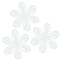 Applikationen - Patches - zum Aufbügeln - 3 Blumen weiß