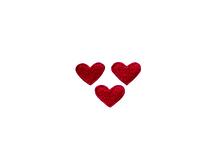Applikationen - Patches - zum Aufbügeln - 3x Herzen rot
