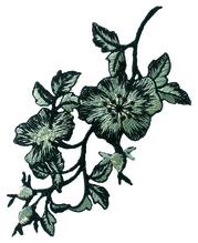 Applikationen - Patches - zum Aufbügeln - Blumenornament grau schwarz