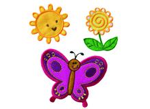 Applikationen - Patches - zum Aufbügeln - Sonne Blume Schmetterling