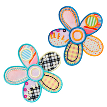 Applikationen - Patches - zum Aufbügeln - 2 Patchwork Blumen blau