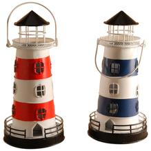 Windlicht Leuchtturm SET blau/rot
