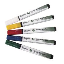 Set Textil-Marker deckend, Rundspitze 2-4mm, m. Ventil , Set 5Stück