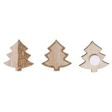 Holz Baum mit Glitter, 30x32mm, mit Klebepunkt, SB-Btl 12Stück
