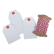 Geschenkanhänger weiß mit Kordel, 3 Größen, rot-weiß, SB-Btl 1Set
