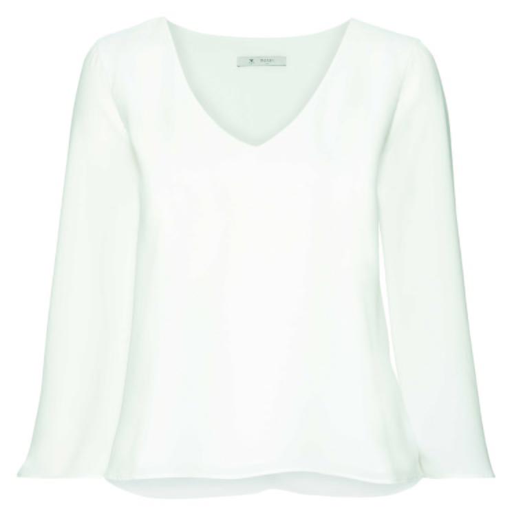 Bluse Trompetenärmel, V-Ausschnitt 3/4, off-white