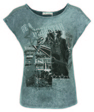 Shirt Acid Collage, Rundhals 1/4, Farbe: elephant