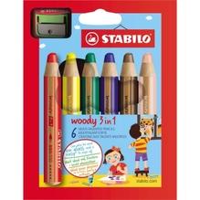 Farbstift Aquarell woody 880 3in1 10mm sort 6St/Pg +Spitzer