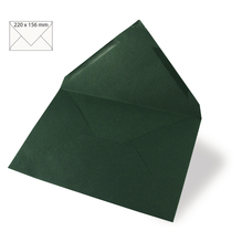 Kuvert für Karte A5, uni, FSC Mix Credit, 220x156mm, 90g/m2, Beutel 5Stück, piniengrün