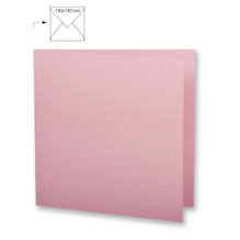 Karte quadr.,doppelt,uni,FSC Mix Credit, 135x270mm, 220g/m2, Beutel 5Stück, rosé