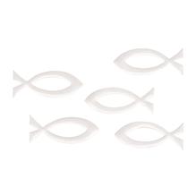 Streuteil Fisch, 5,2x2,1cm, SB-Btl 5Stück, weiß
