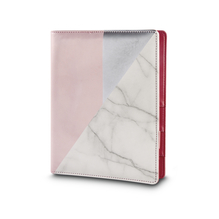 Planer A5,rosa/silber/Marmor, FSCMixCred, 3-er Ringschiene, PVC-Box 1Stück
