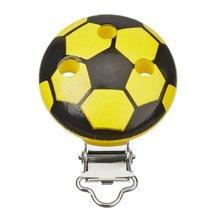 Schnulli-Ketten Clip Fussball, 37 mm x 11,5 mm, schwarz/gelb, 1 St&uum