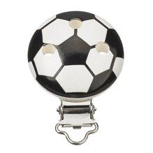 Schnulli-Ketten Clip Fussball, 37 mm x 11,5 mm, schwarz/weiss, 1 St&uu