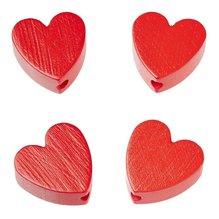 Schnulli-Herz 20 x 20 x 8 mm, Loch 3 mm, rot, 4 Stück