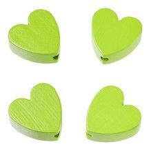 Schnulli-Herz 20 x 20 x 8 mm, Loch 3 mm, apfelgrün, 4 Stück