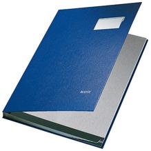 Leitz Unterschriftsmappe 57010035 DIN A4 10 Fächer Graupappe blau