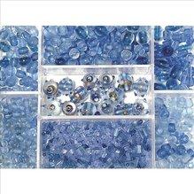 Glasperlen-Box, aquamarin, 115g, versch. Farben + Gr& (EUR 8,69/100 g)