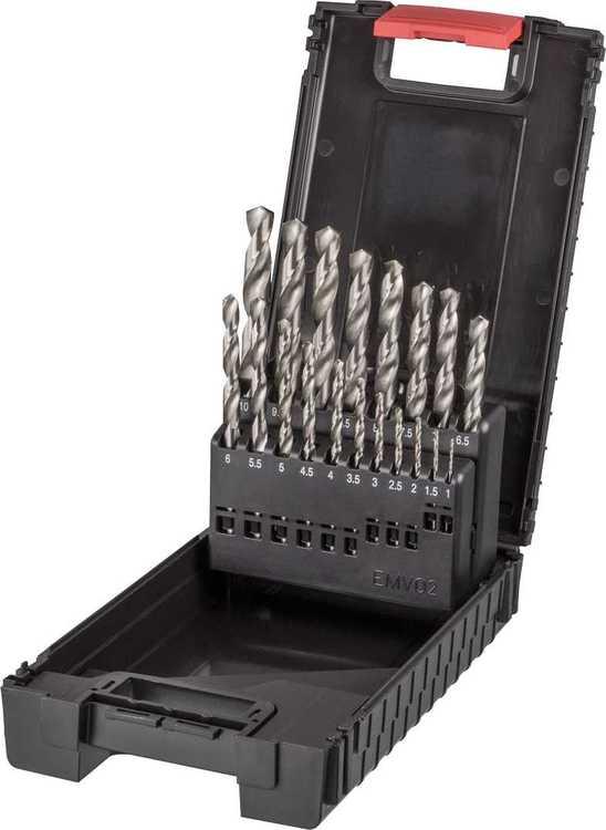 Hochwertiger Spiralbohrer Satz in Bohrerkassette, HSS-geschliffen, DIN 338 N mit K... Satz 19-teilig Ø 1,0-10,0x0,5 mm in W.AG-Kunststoffbox