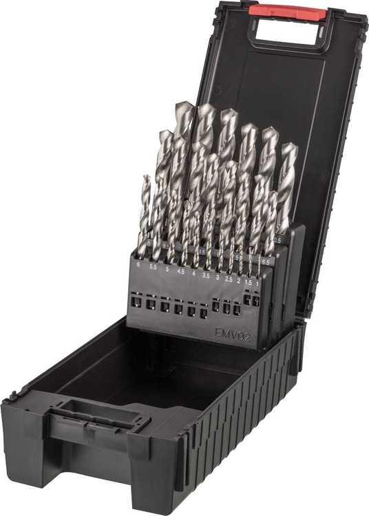 Hochwertiger Spiralbohrer Satz in Bohrerkassette, HSS-geschliffen, DIN 338 N mit K... Satz 25-teilig Ø 1,0-13,0x0,5 mm in W.AG-Kunststoffbox