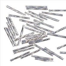 Glasstifte twistet, 25 mm, silber, mit Silbereinzug, (EUR 16,90/100 g)