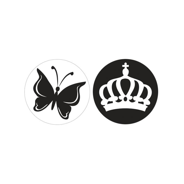 Labels Schmetterling+Krone, 30mm ø, SB-Btl 2Stück