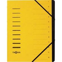 PAGNA Ordnungsmappe 40059-05 DIN A4 12Fächer Pressspankarton gelb