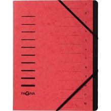 PAGNA Ordnungsmappe 40059-01 DIN A4 12Fächer Pressspankarton rot