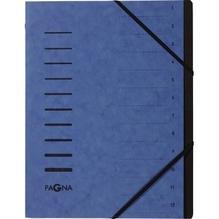 PAGNA Ordnungsmappe 40059-02 DIN A4 12Fächer Pressspankarton blau