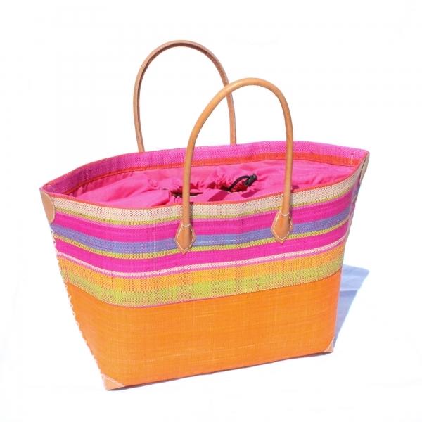 Bast-Strandtasche 'Mery' Modell 4, orange, rosa Stoffzuzug