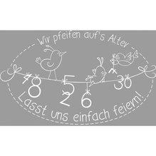 Holz Stempel 'Wir pfeifen auf's Alter..', 6x9cm