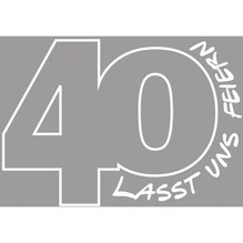 Holz Stempel '40-Lasst uns feiern', 5x7cm