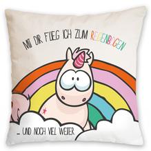 Nici Baumwollkissen Einhorn Theodor 'Mit dir flieg ich zum Regenbogen', 37 x 37 cm