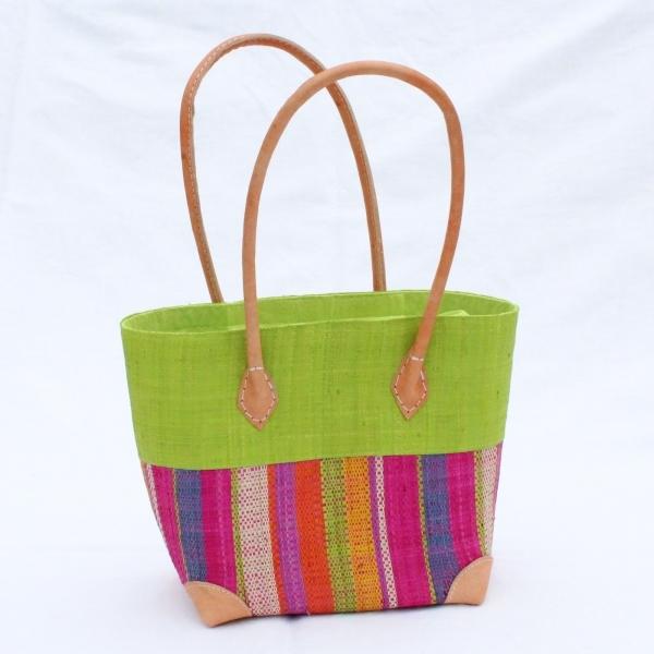 Bast-Handtasche 'Hanta' small, grün mit Stoffzuzug