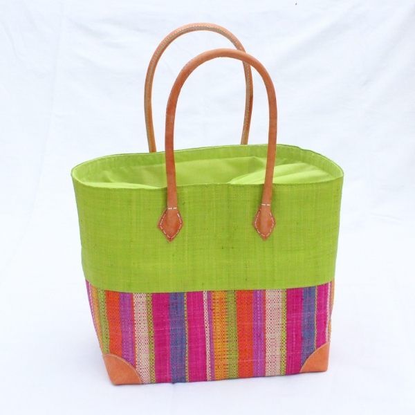 Bast-Handtasche 'Hanta' large, grün mit Stoffzuzug