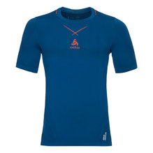 Odlo Herren Shirt Ceramicool Farbe blue opal-orangeande