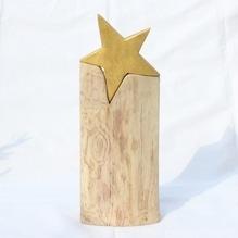 Eichenholz-Skulptur 'goldener Stern' big