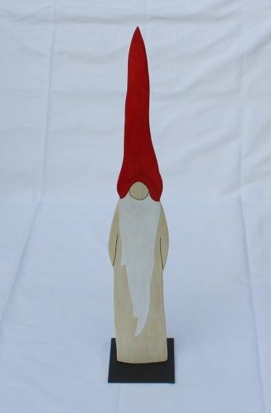 Eichenholz-Wichtel mit roter Mütze 90cm