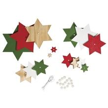 Holz-Sterne Set rot/grün Töne, 11x16cm, Deko zum Hängen, SB-Btl 1Set