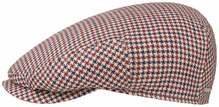 Stetson Driver Cap Linen Houndstooth Flatcap rot blau