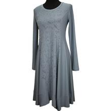 Simclan Kleid lang mit Blumen Beflockung rauchblau