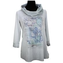 Simclan Longshirt mit Wasserfallkragen grau