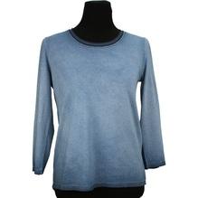 Simclan Baumwollpulli 3/4 Arm mit Stickkragen blau