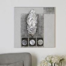 Ölbild 'Spirit' Leinwand · weiß / grau / silber / braun mit Aluminium-Applikation und Feder-Dekor