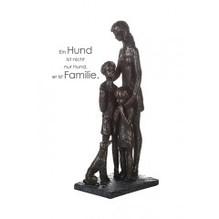 Skulptur 'Tierlieb' Poly . bronzefarben Mutter mit 2 Kindern und Hund graue Basis