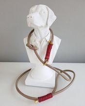Retrieverleine aus feinstem Nappa 'hell taube/vintage rot'